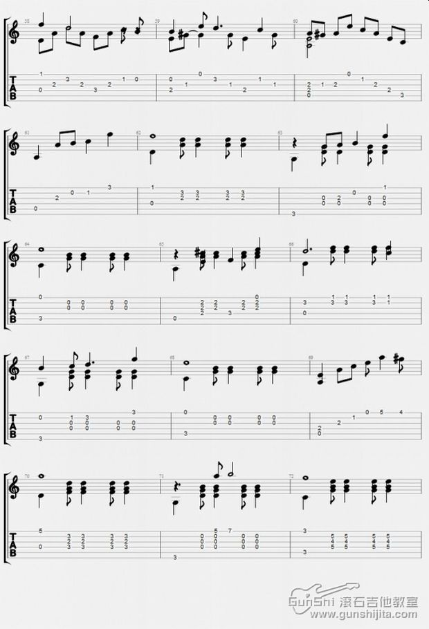 贝加尔湖畔吉他独奏谱